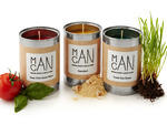 Man Can Man Candles (New York–Style Pizza, Sawdust and Fresh Cut Grass scents), $15 each, at uncommongoods.com