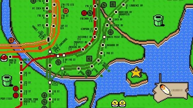Nyc Subway Map Gamw.See What The Nyc Subway Map Looks Like In Super Mario World Video
