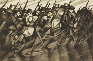 CRW Nevinson ('Returning to the Trenches', 1916, on loan from the British Museum)