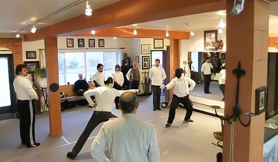 Beginners' fencing class at Martinez Academy of Arms