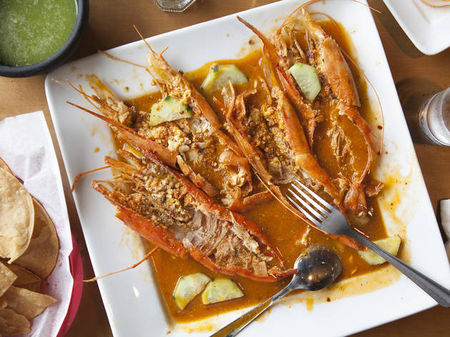 Langostinos at Coni'SeafoodConnie Cossio and chef Sergio Penuelas, who hail from Nayarit and Sinaloa, respectively, have managed to turn sea-blue Coni'Seafood into an oceanic destination. People know about their pescado zarandeado, but another standout d