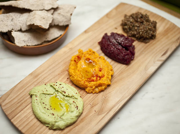 Farmer's Board: Avocado Hummus, Spicy Smashed Sweet Potato, Beets & Grains of Paradise, Red Quinoa & kale Tabouli from Margaux at the Marlton Hotel