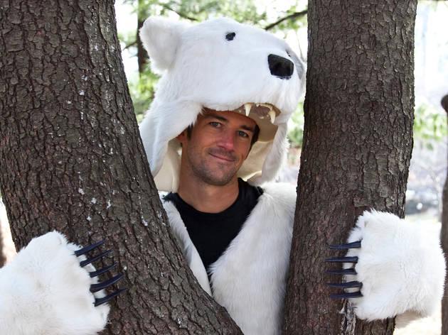 Hans Reichstetter, cofounder of Griz Coat, wearing a polar-bear coat in Central Park