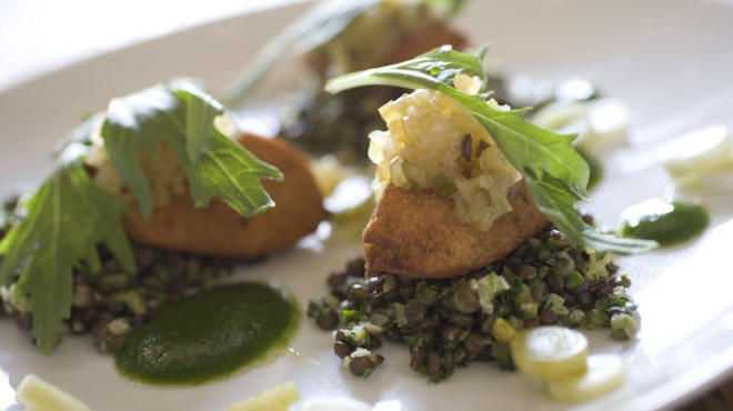 Crisp falafel with lentil tabouli, celery chutney, green garlic and preserved lemon at Premise