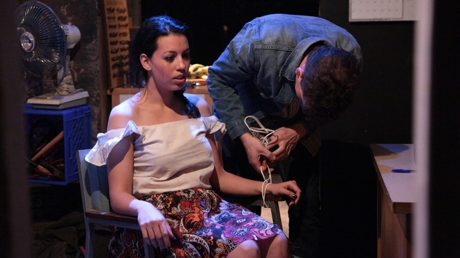 Paloma Nozicka and Adam Brown in Jackalope Theatre Company's Long Way Go Down.