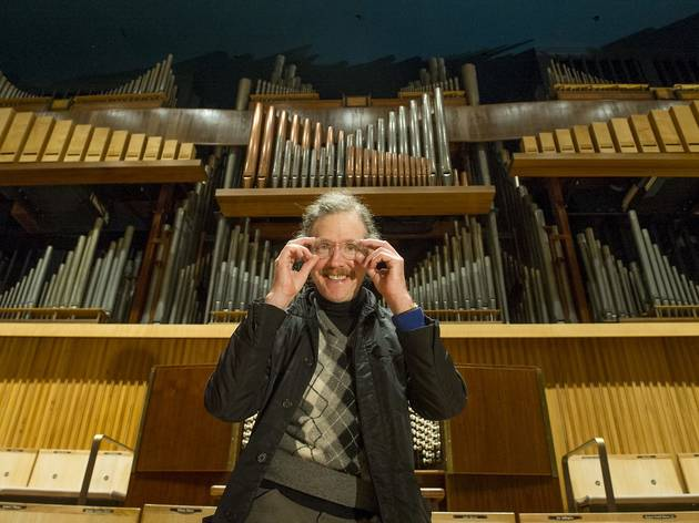 Martin Creed photographed with the RFH organ