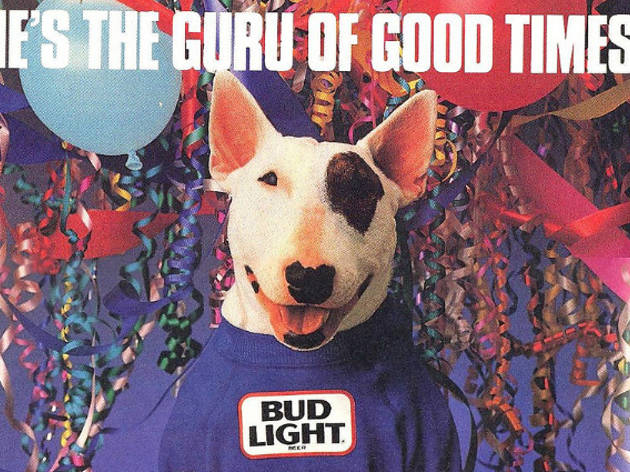 """Spuds MacKenzie, """"the original party animal,"""" made his debut in a 1987 Bud Light ad that aired during Super Bowl XXI."""