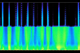 ('The Normalisation of Deviance I' - spectogram of soundscape in exhibition © Mark Curran)