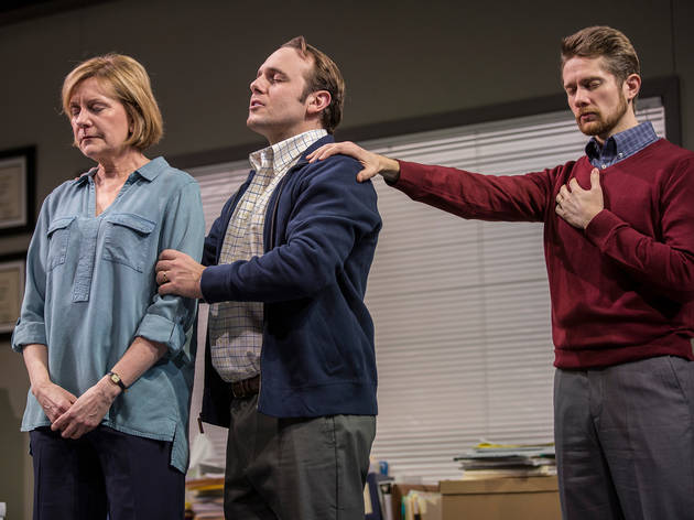 Mary Beth Fisher (Caroline), Richard Thieriot (Pastor Jay) and Erik Hellman (Cliff) in Luna Gale at Goodman Theatre