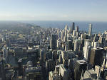 One of the iconic views of the Chicago skyline from Willis Tower.