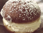 Strawberry and whipped cream filled paczki from Delightful Pastries.