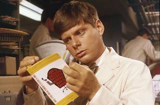 Robert Morse studies up in the 1967 film version of How to Succeed in Business Without Really Trying.