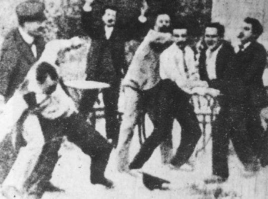 Baralla en un cafè, Fructuós Gelabert (1897)