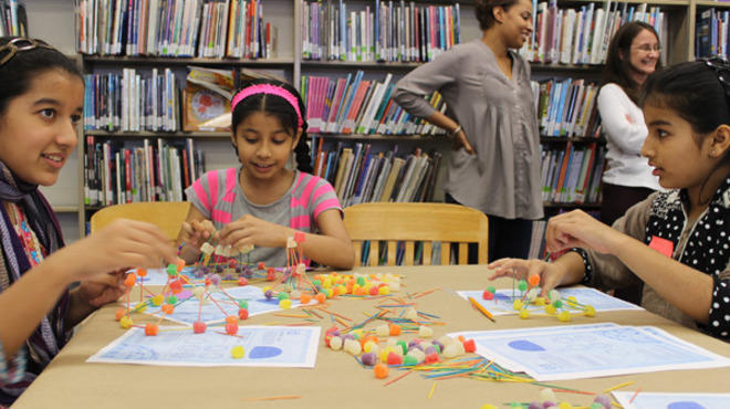 Out-of-school students kept busy Monday at a Chicago Public Library branch, thanks to a free fun workshops held in conjunction with the engineering-minded James Dyson Foundation. The program continues throughout the week at various branches (see the blog