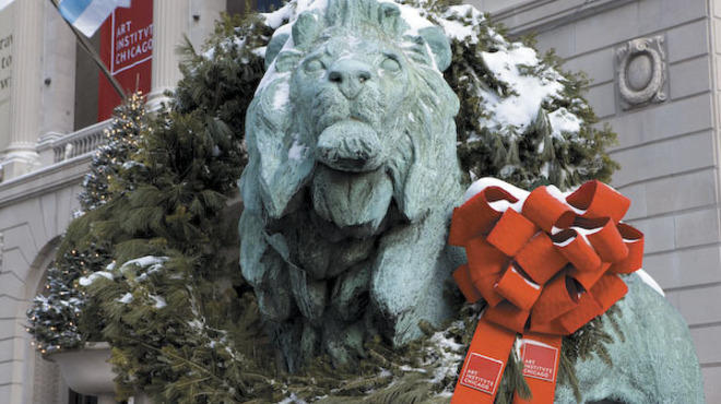 The annual Wreathing of the Lions at the Art Institute of Chicago is a hoilday kick-off tradition for many.