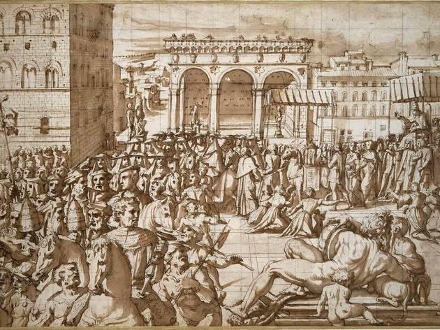Giorgio Vasari ('Pope Leo X processing through Piazza Signoria in 1515', c.1588)