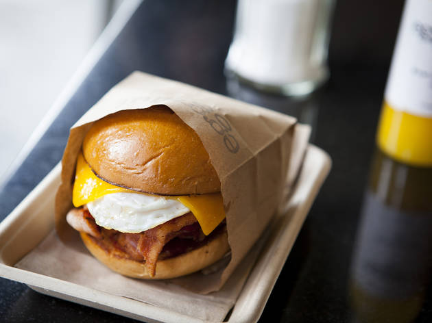 Bacon, egg and cheese sandwich at Eggslut
