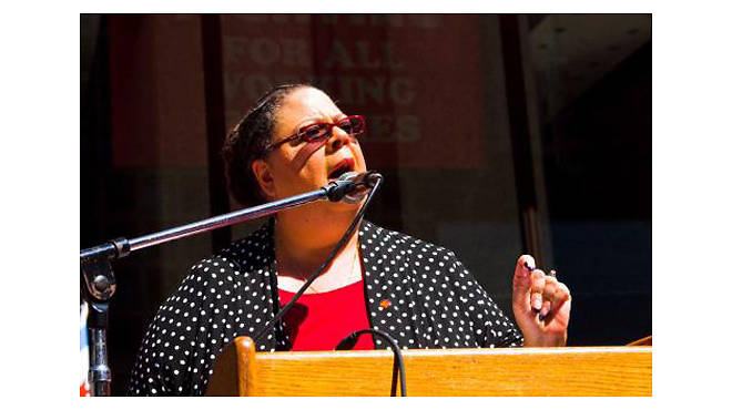 Chicago Teachers Union president Karen Lewis speaks at a Labor Day rally. Photo used by permission from the Chicago Teachers Union Local 1 Flickr stream.