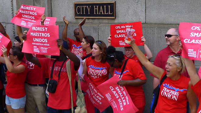 Chicago teachers rally. Photo used by permission from the Chicago Teachers Union 1 Flickr stream.