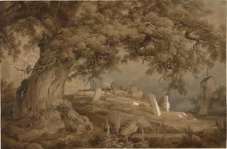 Karl Friedrich Lessing  ('Landscape with a cemetery and a church' 1837, ©  The Morgan Library & Museum)