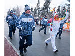 The Olympic flame in Ufa, Russia
