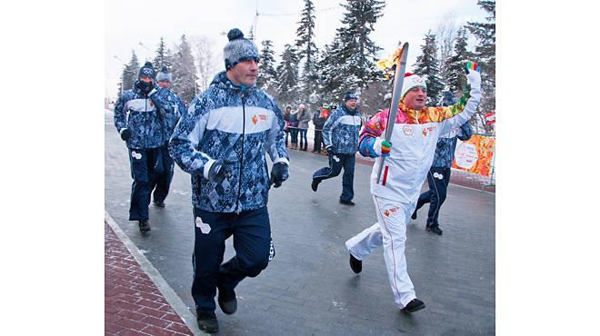 The Olympic flame in Ufa, Russia