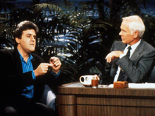 Jay Leno (left) appearing on The Tonight Show with Johnny Carson circa 1990