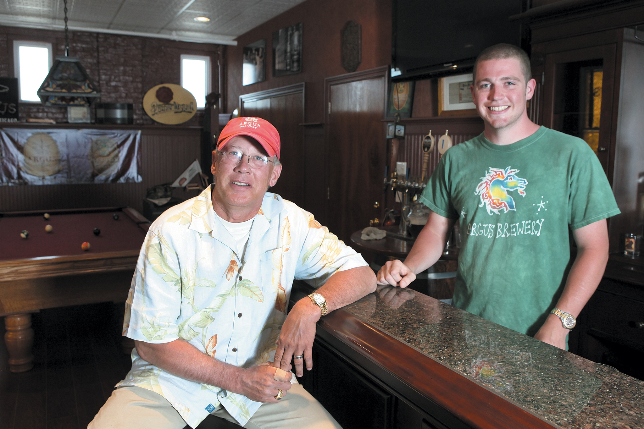 Argus Brewery owners Robert, left, and Patrick Jensen in the tasting room of their brewery in Chicago.