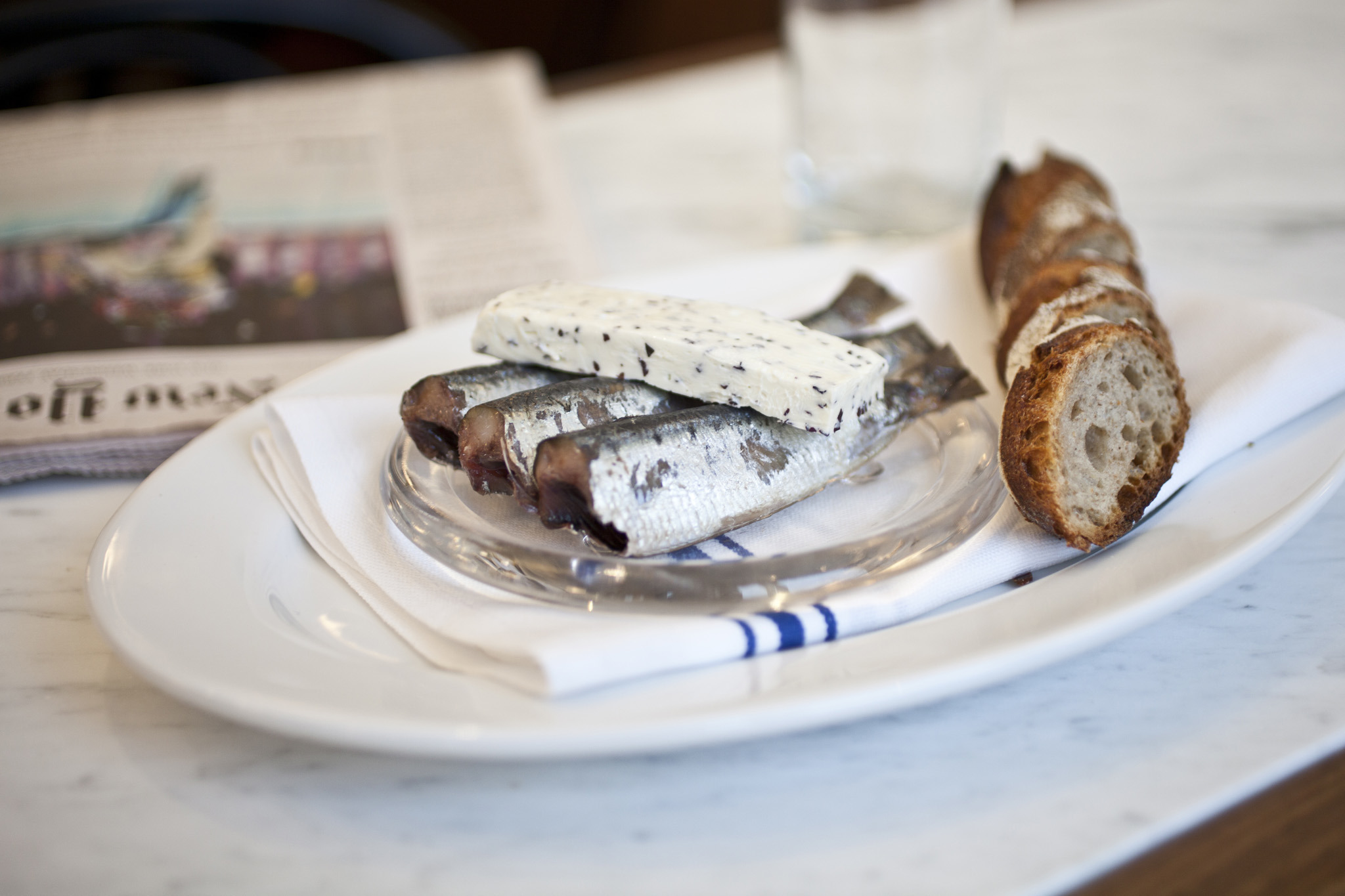 <p>Smoked sardines at French Louie</p>