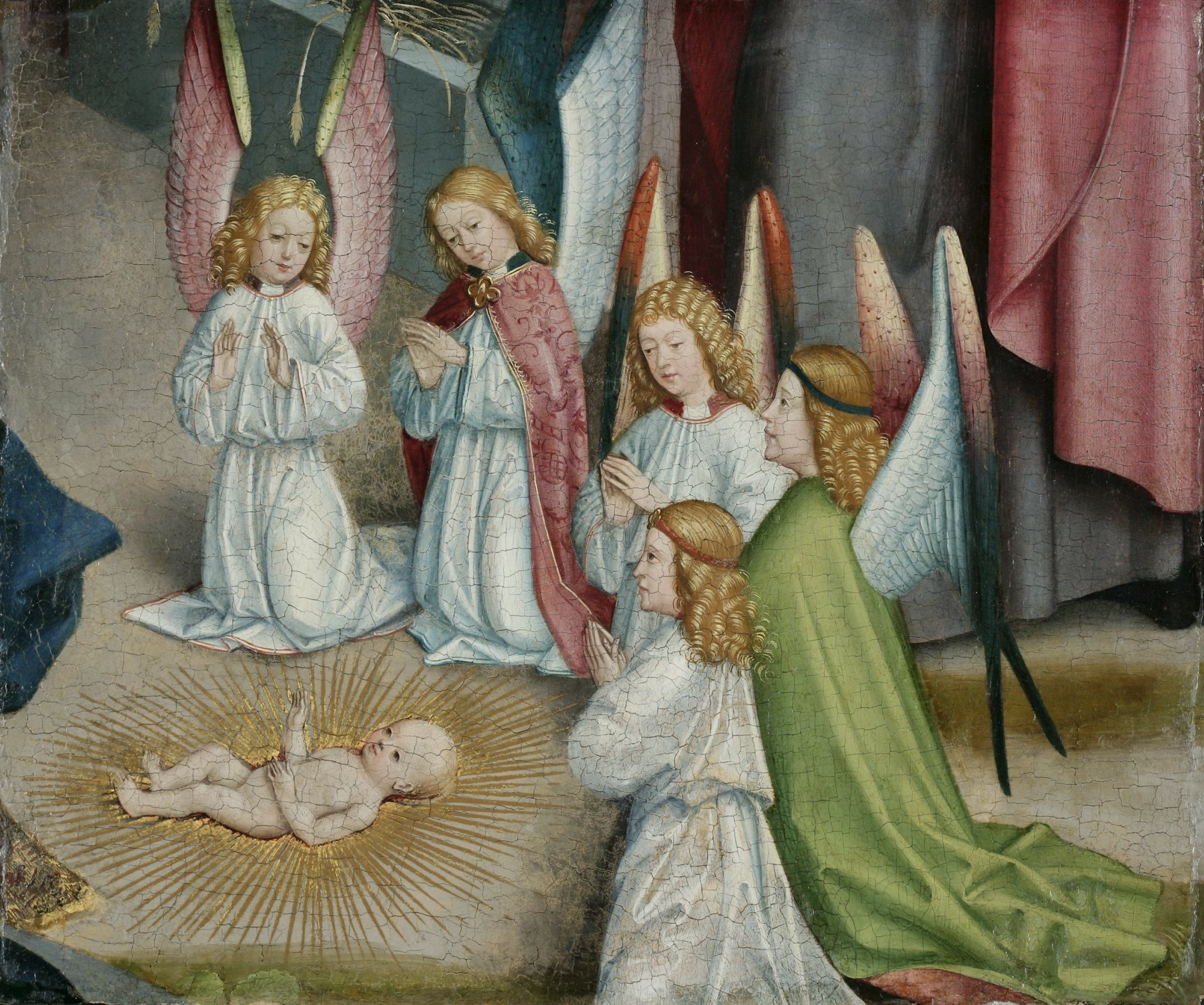 'Angels Worshipping the Christ Child' (1470-80) by Master of Liesborn