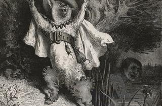 (Gustave Doré, « Au secours ! Au secours ! », frontispice pour 'Le Chat botté', publié dans Charles Perrault, 'Contes', Paris, Hetzel, 1862 / © Bibliothèque Nationale de France)