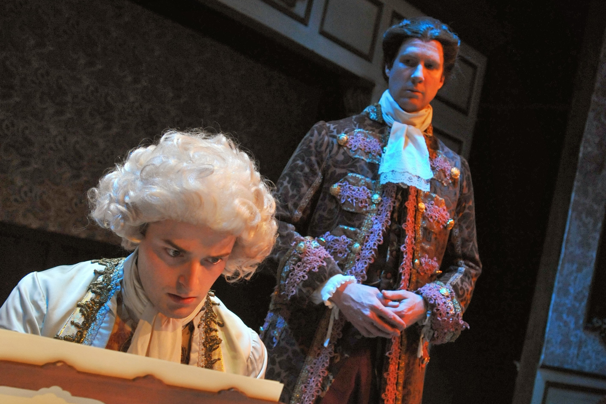 Chris Ballou and Steve O'Connell in Amadeus at BoHo Theatre