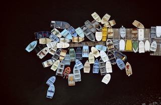 Alex MacLean ('Dinghies Clustered around Dock, Duxbury, Massachusetts, USA', 1993)