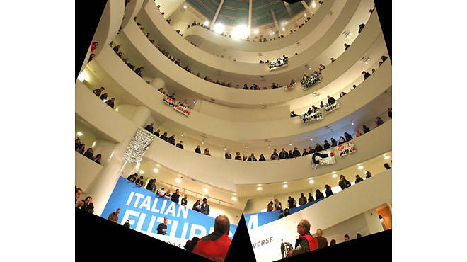 View of G.U.L.F.'s protest at the Guggenheim on February 22, 2014, from the atrium