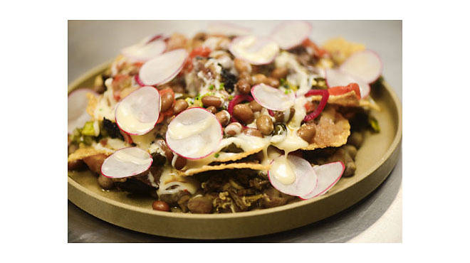 Michael Anthony's beer-marinated smoky beef nachos