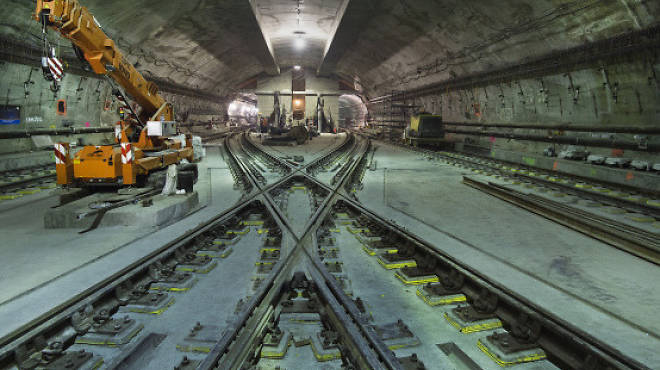 Construction on the 7 line extension to 34th Street and Eleventh Avenue