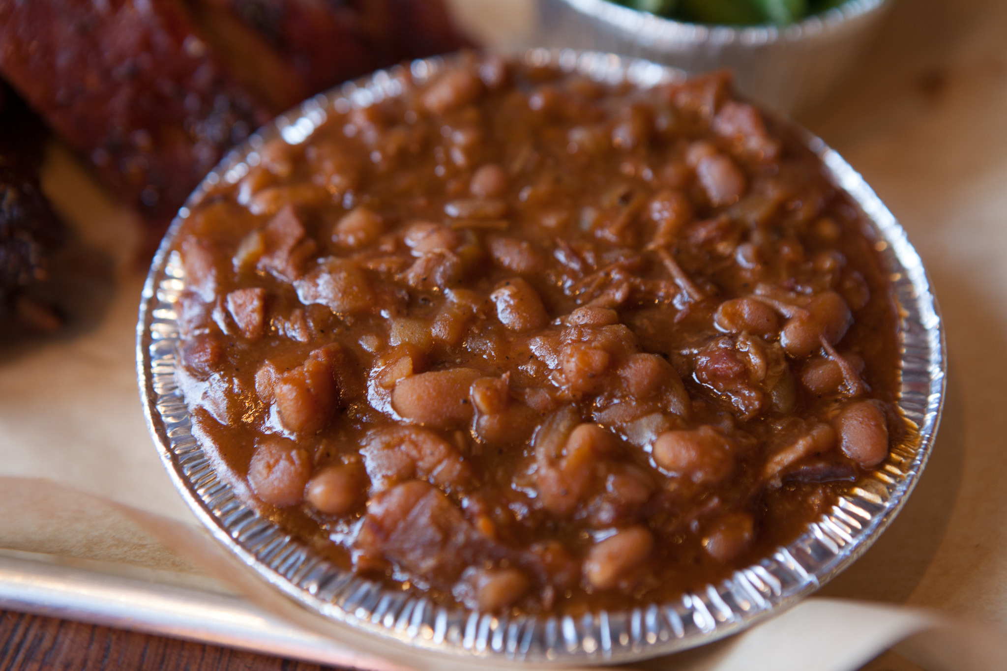 Baked beans at Q BBQ.