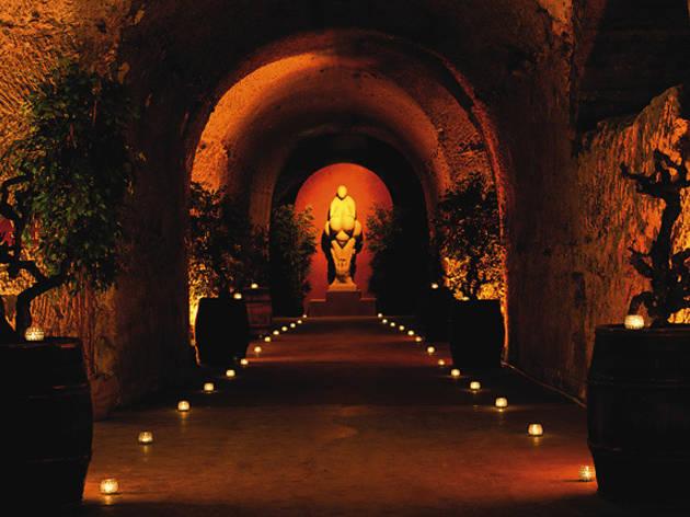 In a vast cellar