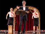 """This American Life"" host Ira Glass performs with dancers Monica Bill Barnes and Anna Bass in ""Three Acts, Two Dancers, One Radio Host."""