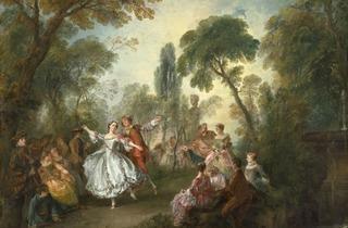(Nicolas Lancret, 'Fête Galante avec la Camargo dansant avec un partenaire', c. 1727-1728 / © Courtesy National Gallery of Art, Washington)