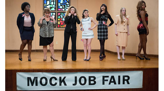 (From left) Danielle Brooks, Lin Tucci, Natasha Lyonne, Yael Stone, Jackie Cruz, Emma Myles and Laverne Cox in a scene from Orange Is the New Black's season two