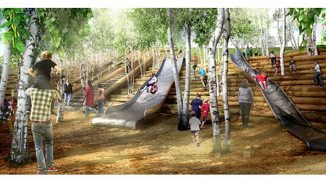 Rendering of Slide Hill on Governors Island