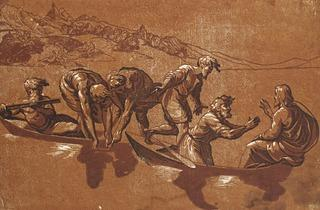 Ugo da Carpi, after Raphael  ('The Miraculous Draught of Fishes', c1523-27 )