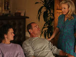 Connor Buckley as Frankie, Christopher Meloni as Jack and Rachael Harris as Joanne in Surviving Jack