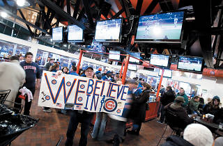 Cubs fans flock to sports bars like the Captain Morgan Club in Wrigleyville.