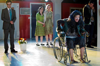 Zeke Sulkes, Tien Doman, Erin Barlow, Lindsey Gavel and Walter Briggs, seen here in 2011's Sophocles: Seven Sicknesses, will all return for the Hypocrites' premiere of All Our Tragic in August 2014.