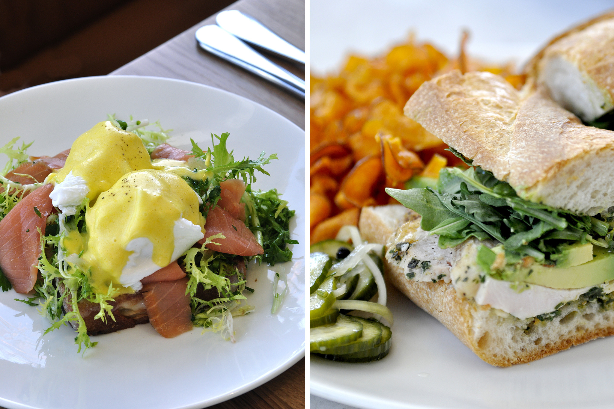 Salmon Benedict and The Marcia at The Larder at Burton Way