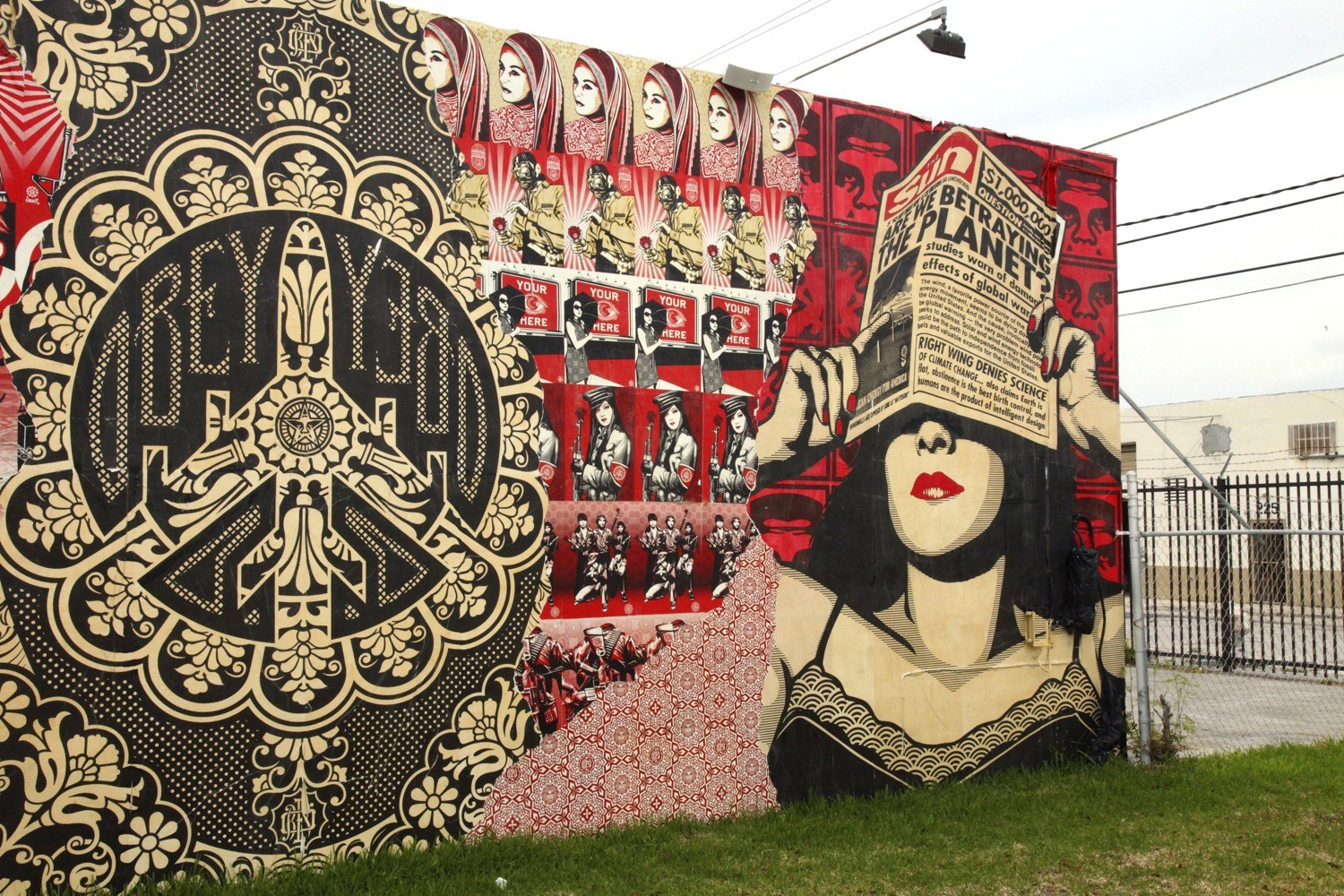 A Shepard Fairey contribution to Miami's glorious Wynwood Walls