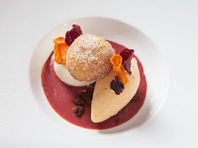 Ricotta fritter, carrot ice cream on the Topolobampo Mexico City 1671 menu.