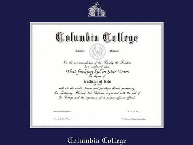 Jake Lloyd's Columbia College diploma